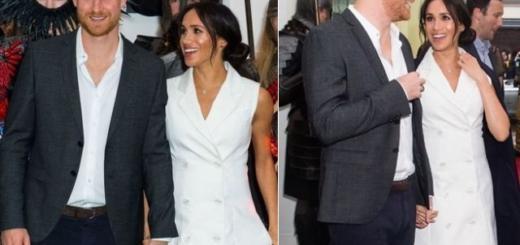 Беременная Меган Маркл в белом платье принимает комплименты (ГОЛОСОВАНИЕ)