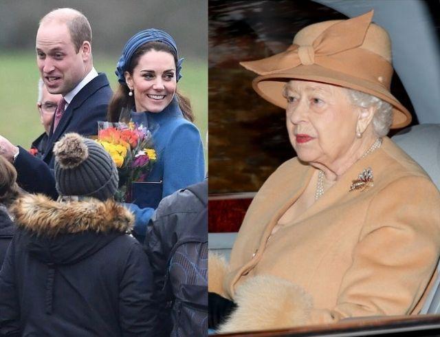 Кейт Миддлтон и принц Уильям в компании Елизаветы II посетили церковную службу (ФОТО)