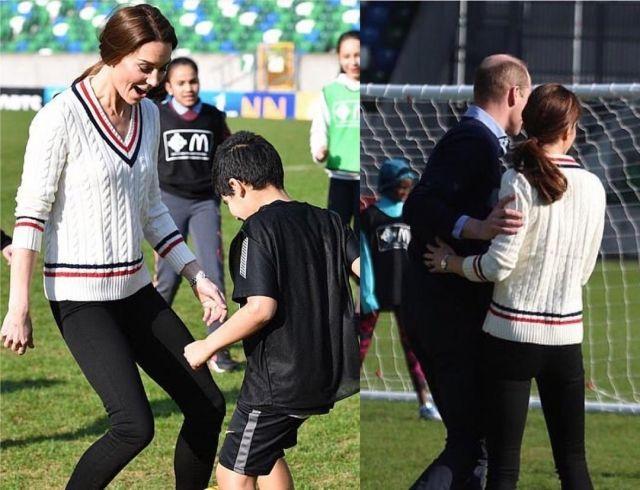 Кейт Миддлтон и принц Уильям сыграли в футбол с детьми в Белфасте (ФОТО+ВИДЕО)