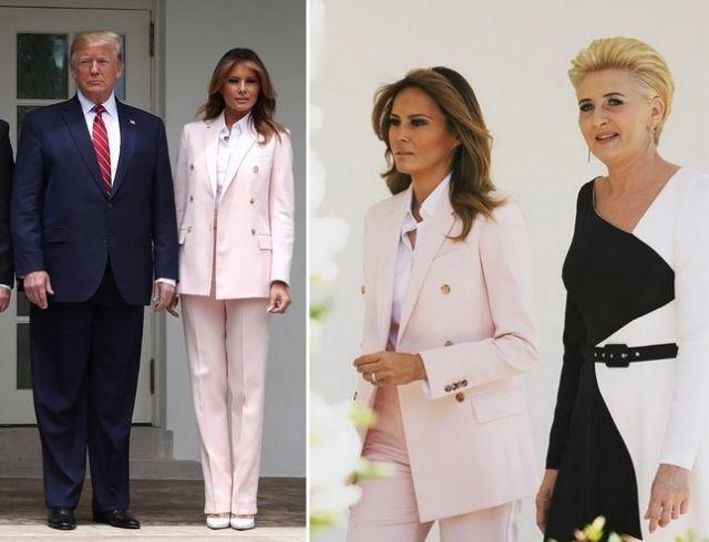 Мелания Трамп в костюме пудрового цвета принимает комплименты (ГОЛОСОВАНИЕ)