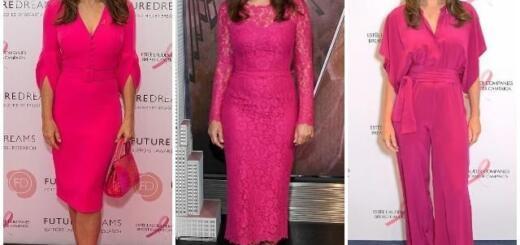 Возраст цвету не помеха: 54-летняя Элизабет Херли в платье цвета фуксии на благотворительном ланче (ФОТО)